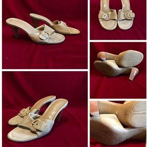 "Camel Tan Suede 3.5"" High Heels Slide"